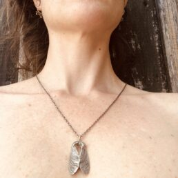 Framed Sycamore Drawing and Pendant with seed pods crossing around neck