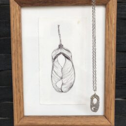Framed small Sycamore Drawing and Pendant with seed pods crossing from front