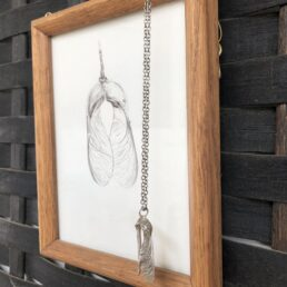 Framed Sycamore Drawing and Pendant with seed pods crossing from the side