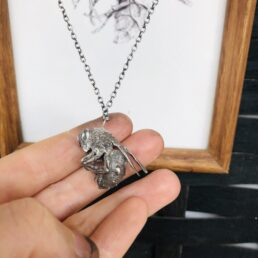 Wasp pendant cast in sterling sliver close up