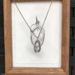 Small Sycamore pendant with framed drawing from front