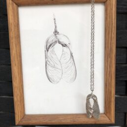 Framed Sycamore Drawing and Pendant with seed pods crossing