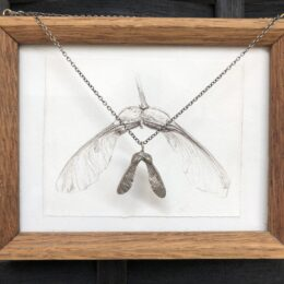 Sycamore pendant cast in sterling sliver with framed drawing