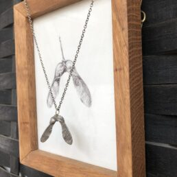 Framed Sycamore Drawing and Pendant from side