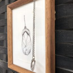 Framed small Sycamore Drawing and Pendant with seed pods crossing from the side